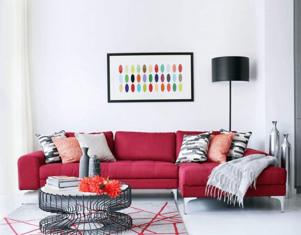 Freelancing - White Wall Red Sofa