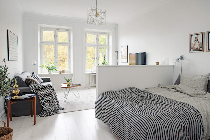 Freelancing - White Wooden Floor Small Half Divider White Grey Sofa Living Room Furniture Layout White Walls